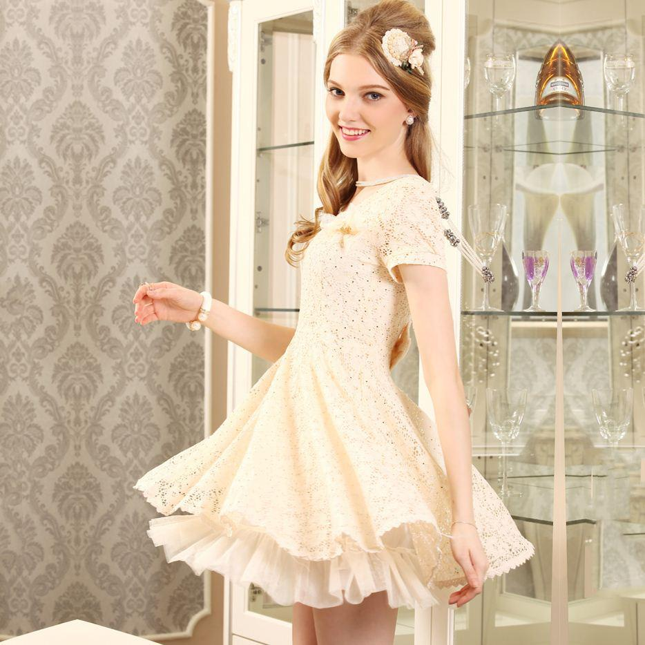 Beaded Floral Stitching Dress