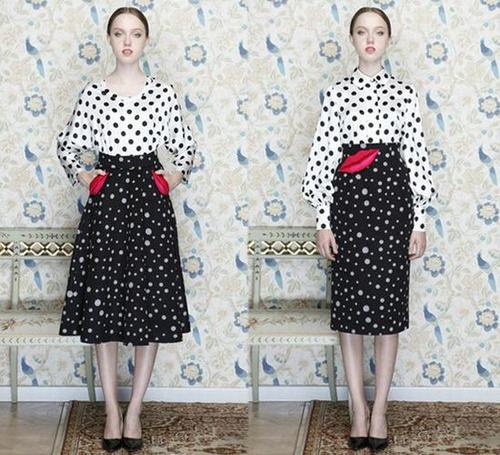 Polka Dots Suspender Skirt