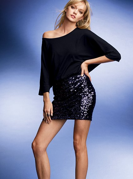 Sequined Designed Elastic Skirt