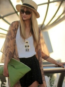 Long Printed Cardigan