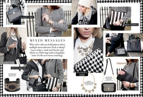 Houndstooth Wool Long Coat