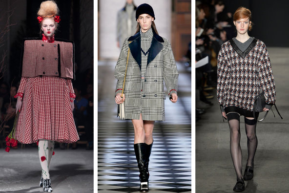 Houndstooth Tweed Wool Coat