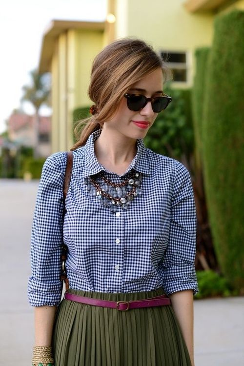 Blue Loose Plaid Blouse