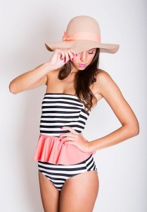 Navy Wind Striped Swimsuit