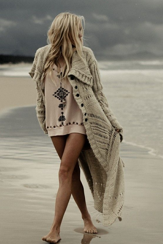 Women Knit Long Cardigan