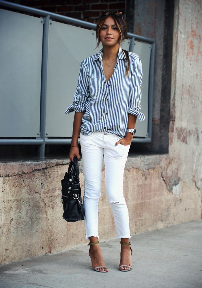 How to Wear White Slim Denim Jeans? - Women Magic Wardrobes