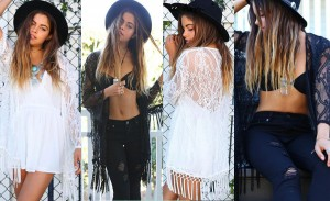 lace tassel blouse