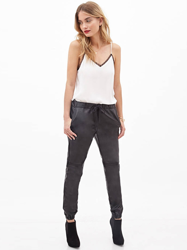 Women Faux Leather Trousers