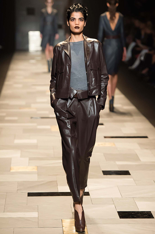 leather pants runway