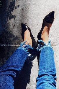 tassel worn-out denim jeans