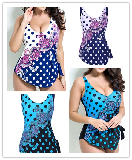 Polka Flower Printed Swimwear